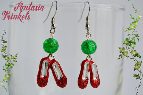 Sparkly Ruby Slippers and Emerald Glass Beads Dangle Hook Earrings - Wizard of Oz inspired
