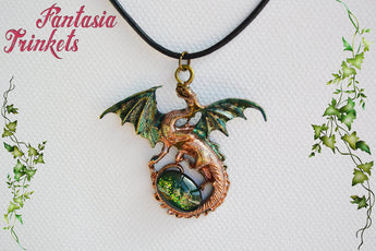 Green and Bronze Dragon with Glittery Glass Gem Egg - Handpainted Pendant Necklace - Epic Medieval Fantasy Jewelry