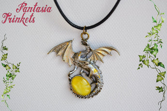 Silver Dragon with Golden Glass Gem Egg - Handpainted Pendant Necklace  - Epic Medieval Fantasy Jewelry