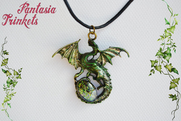 Shiny Green Dragon with Glittery Glass Gem Egg - Handpainted Pendant Necklace - Epic Medieval Fantasy Jewelry