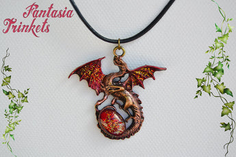 Red and Gold Dragon with Glittery Glass Gem Egg - Handpainted Pendant Necklace - Epic Medieval Fantasy Jewelry