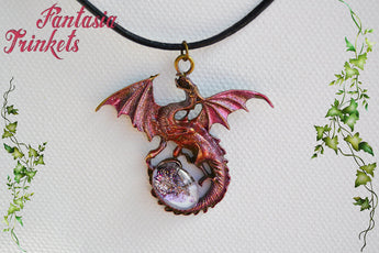 Rose Dragon with Glittery Glass Gem Egg - Handpainted Pendant Necklace - Epic Medieval Fantasy Jewelry