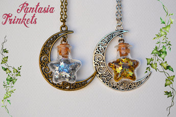 Moon and Stars in a Glass Bottle - Filigree Moon Charm + Holographic Stars Confetti - Pendant Necklace - Choose your style
