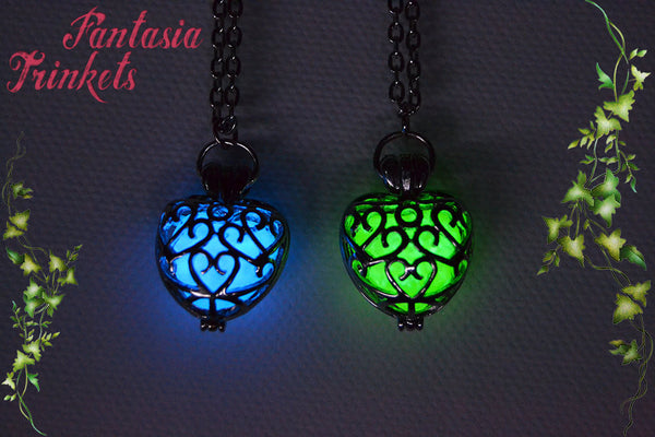 Glowing Heart - Blue or Green Glow in the Dark Silver Filigree Heart Pendant Necklace