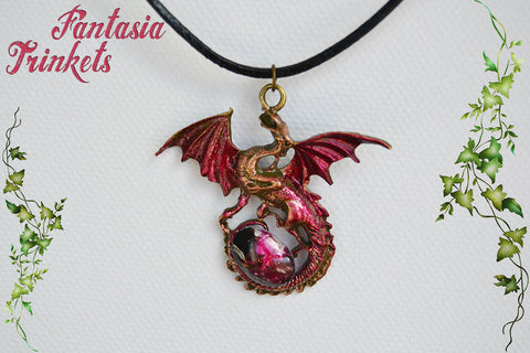 Dark Red Dragon with Glittery Glass Gem Egg - Handpainted Pendant Necklace - Epic Medieval Fantasy Jewelry