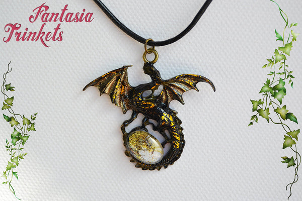 Black and Gold Dragon with Glittery Glass Gem Egg - Handpainted Pendant Necklace - Epic Medieval Fantasy Jewelry
