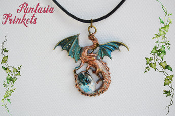Teal Winged Dragon with Glittery Glass Gem Egg - Handpainted Pendant Necklace - Epic Medieval Fantasy Jewelry