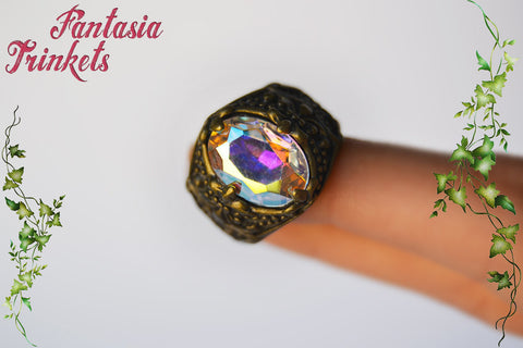 Arkenstone Ring - Aurora Borealis Jewel - Unisex Adjustable Bronze Ring - Tolkien Fantasy Jewelry