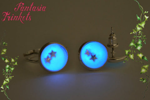 Glow in the Dark Silver Tone Adjustable Ring and Post Earrings Set with Tiny Stars