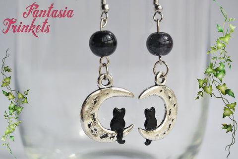 Black Cat and Silver Moon - Handpainted Dangle Earrings with Black Glass Beads - Whimsical Jewelry