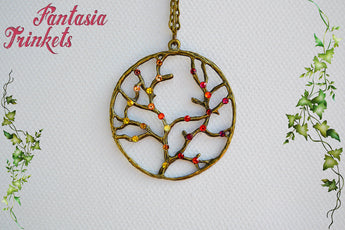 Bronze Tree of Life with Rhinestones Pendant Necklace - Choose Yellow or Red - Nature Lover Statement Jewelry