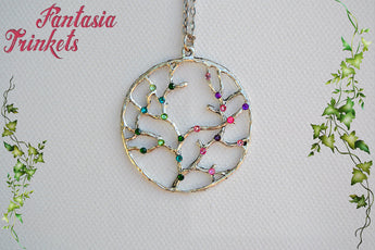 Silver Tree of Life with Rhinestones Pendant Necklace - Choose Green or Purple - Nature Lover Statement Jewelry