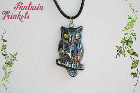Natural Hematite Owl with Rhinestone Eyes Pendant Necklace - Animal & Nature Lover Jewelry