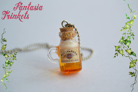 Butterbeer Glass Bottle Charm Pendant Necklace or Earrings - Harry Potter Jewelry