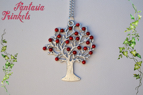Weirwood Heart Blood Red and Silver Tree Pendant Necklace - Game of Thrones Jewelry