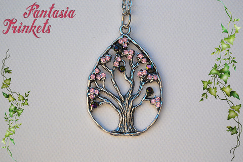 Antique Silver Teardrop Tree with AB Rhinestones Pendant Necklace - Nature Lover Statement Jewelry