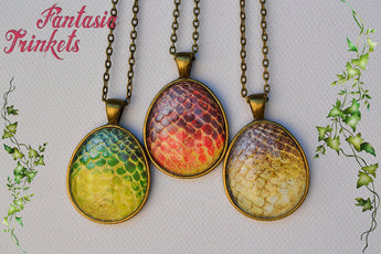 Rhaegal, Drogon and Viserion Eggs - Real Dragon Eggs Replicas Photo Glass Pendant Necklaces