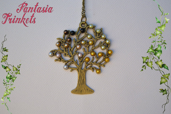 Autumn Tree of Life with Pearls Pendant Necklace - Nature Lover Statement Jewelry
