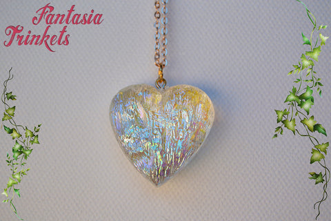 Frozen Heart - Iridescent Translucent Heart Pendant Necklace - Fairy Tale Princess Jewelry