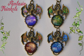 Glittery Handpainted Dragon with Sparkly Glass Gem Pendant Necklace - Epic Medieval Fantasy Jewelry