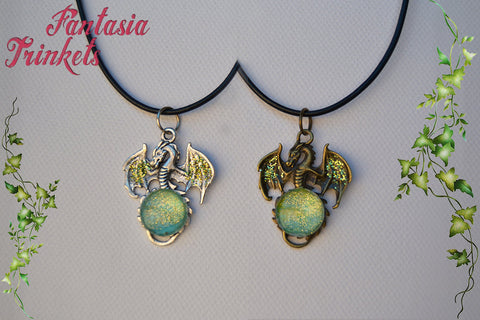 Dragon with Green and Gold Glitter Glass Gem - Handpainted Pendant Necklace - Silver or Bronze - Epic Medieval Fantasy Jewelry