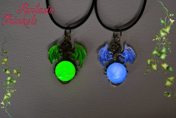 Glow in the Dark Dragon and Crystal Moon Pendant Necklace - Green or Blue, Silver or Bronze - Luminescent Fantasy Jewelry