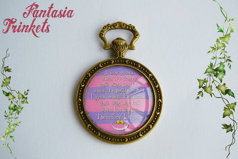 Cheshire Cat Mad Quote Pocket Watch Glass Pendant Necklace - Alice in Wonderland