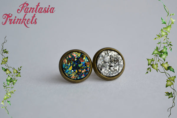 Sparkly Faux Druzy Bronze Ring and Post Earrings Set - Choose Silver or Copper/Green