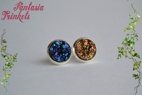 Sparkly Faux Druzy Silver Tone Ring and Post Earrings Set - Choose Blue-Purple or Pink-Gold - Boho Chic Jewelry