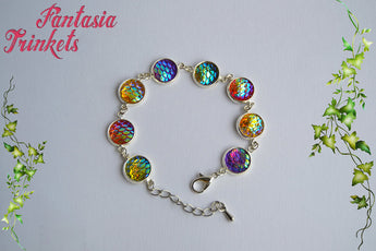Colorful Rainbow Iridescent Mermaid Scales Silver Tone Adjustable Bracelet - Fantasy Jewelry
