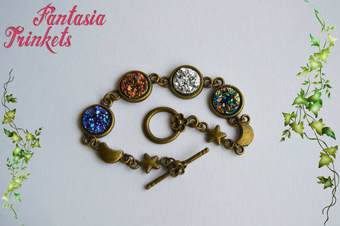 Customizable Druzy Bracelet - Glittery Faux Druzy Cabochons on a Bronze Link Bracelet with Elegant Toggle Clasp - Choose your color!