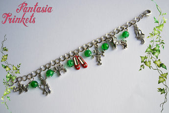 Wizard of Oz Themed Silver Charm Bracelet with Emerald Glass Beads and Ruby Slippers