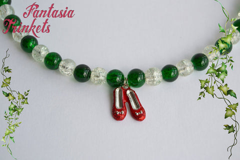 Emerald and Clear Glass Beaded Choker Necklace with Ruby Slippers Dangling Charm