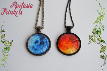 Blue Moon and Blood Red Moon Photo Glass Pendant Necklace
