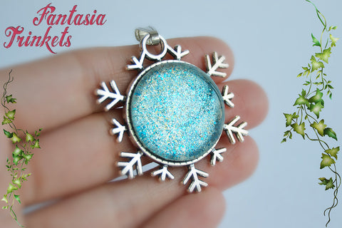 "Frozen Ice Glass Jewel on a Silver Snowflake ""Snow Queen"" Pendant Necklace - Fairy Tale Princess inspired"