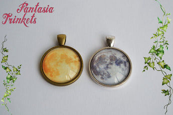 Full Moon - Natural or Yellow - Harvest Moon Photo Glass Pendant Necklace