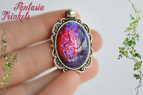 Dragon's Breath Necklace - Czech Glass Mexican Fire Opal 25x18 Oval Cabochon on Antique Silver Pendant - Medieval Fantasy Jewelry