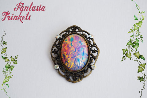 Pink and Gold Harlequin Fire Opal Gem on a Bronze Pendant Necklace