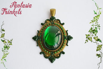 Ozma - Emerald Green Glass Jewel on a Handpainted Vintage Bronze Pendant Necklace