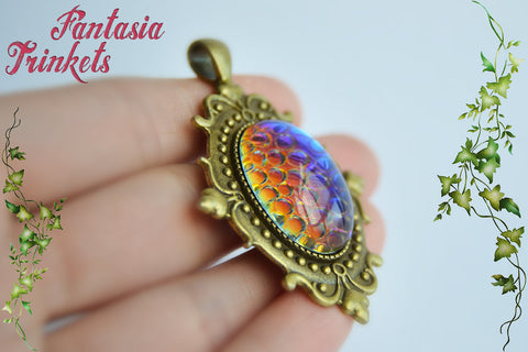 Dragon Egg - Color Shifting Mosaic Glass Gem on a Bronze Pendant Necklace - Fantasy Jewelry