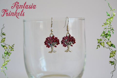 Weirwood Heart Tree - Handpainted Dark Red and Silver Trees Dangle Hook Earrings