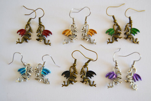Dragon Earrings - Custom Color Handpainted Wings - Silver Bronze Steel Hooks - Fantasy Jewelry