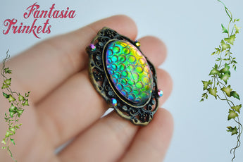 Dragon Egg - Rainbow Color Shifting Mosaic Glass Gem on a Bronze Pendant Necklace - Fantasy Jewelry