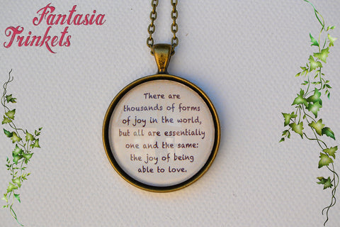 The joy of being able to love - Michael Ende's Neverending Story Inspirational Quote Glass Pendant Necklace