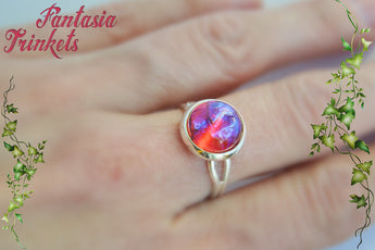 Dragon's Breath Ring - Czech Glass Mexican Fire Opal 10mm Round Cabochon on Shiny Silver Brass Adjustable Ring