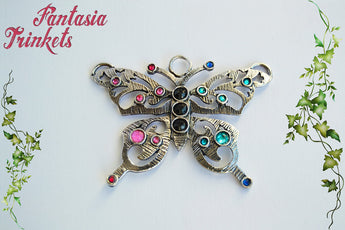 Antique Silver Butterfly with Rhinestones Pendant Necklace - Nature Lover Statement Jewelry