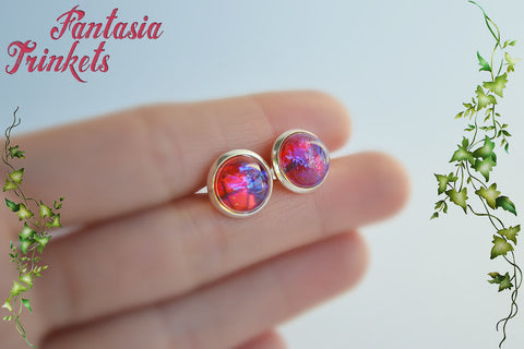 Dragon's Breath Earrings - Czech Glass Opal Cabochons on Silver Posts or Studs
