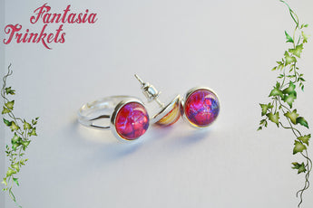 Dragon's Breath Jewelry Set - Czech Glass Mexican Fire Opal 10mm Round Cabochons on Shiny Silver Brass Adjustable Ring and Post Earrings