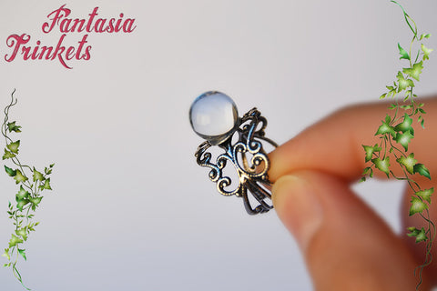 "Crystal Ball ""Goblin King"" Ring - Real Glass Orb on Adjustable Filigree Ring - Labyrinth Jewelry"
