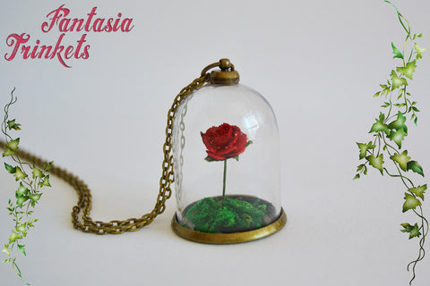 Miniature Red Rose (or custom color) in a Glass Dome Pendant Necklace - Beauty and the Beast Fairy Tale inspired Jewelry